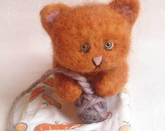 Reserved Custom Order for Tracy Cruz Pumpkin th Kitty in Autumn Orange Wool Needle Felted Cat with Glass Eyes Blanket and Yarn Ball Tibetan