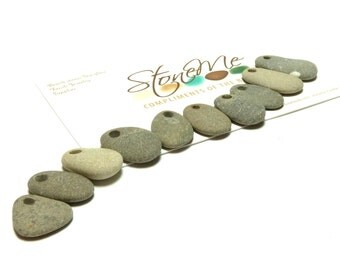 Hand Drilled Beach Pebbles Stones Natural Lake Finds Supplies for Jewelry Beading Gray Storm Palette LAKE EFFECT