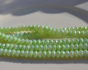 Mint Green Luster 7x5mm Faceted Czech GLass Rondelle Beads  45