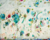 Turquoise and White Karen Fields Painting  Large Abstract 36 x 48