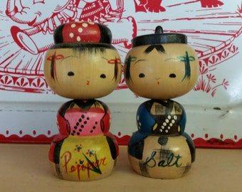 Japanese kokeshi salt and pepper shakers