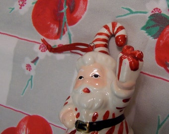 candy cane santa ornament