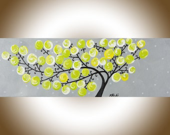 Original artwork Narrow art yellow gray whimsical art nursery wall art abstract swirl tree painting wall art wall decor Impasto canvas art