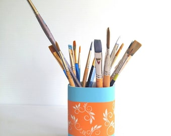 Pencil holder Hand painted orange and blue toothbrush holder