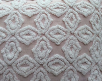 Vintage Chenille Down Pillow Cottage Chic Pink White Shabby Chic Beach Baby Nursery