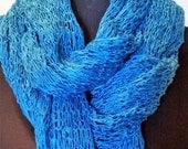 Hand knit lace stole/scarf in blues