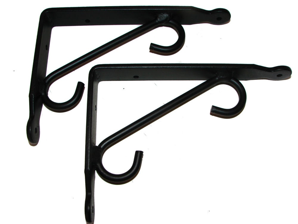 pair sturdy small wrought iron shelf brackets craft room. Black Bedroom Furniture Sets. Home Design Ideas