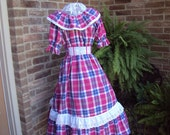 Plaid Prairie Party Dress, Civil war dress, folk costume, Oklahoma dress, pioneer dress, Halloween dress
