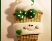 Polymer Clay Girl Latte Coffee Charm in Green