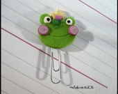 Mini Planner Clip  Frog Face Polymer Clay Page Marker Journal Accessory