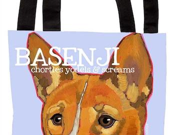 Basenji canvas tote bag, basenji custom tote, basenji beach tote, dog art grocery bag, basenji custom gift, basenji