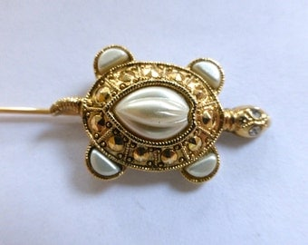 Vintage Gold Plated Turtle Shape Hat Pin with Pearls     (1)