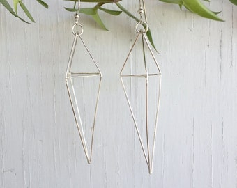 Sterling Silver Geometric Earrings, Himmeli jewelry, Kite Diamond Earrings