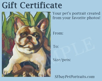 "GIFT CERTIFICATE for 16x20"" custom pet portrait"