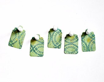 Gift Tag Kit {20+ twine} Small Mint Green Labels Retro Merchandising Embellishments Housewarming Christening Party DIY Scrapbooking