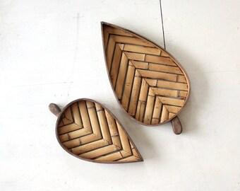 Handmade Oversize Wood & Bamboo Sculptural Wall Hanging Artwork