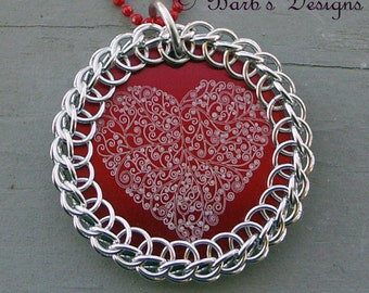 Chainmaille wrapped Engraved Red Heart Pendant Necklace