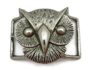 Costume Jewelry Owl Belt Buckle - Silver Tone Buckle