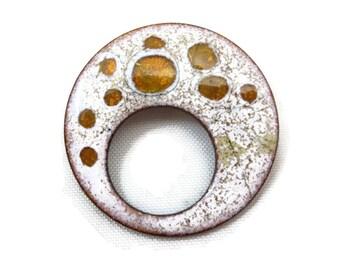 Enamel on Copper Brooch - Mid Century Modern, Costume Jewelry