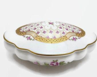 Limoges Trinket Box - Bonbonniere, Gilt, Porcelain, Pink Roses