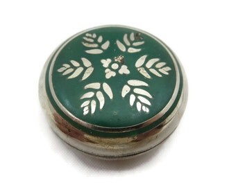 Enamel Pill Box - Green Leaf, Silver, Round, Miniature