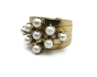 Pearl Stack Ring - Multi Band, June Birthstone Jewelry