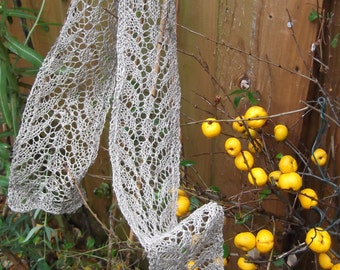Delicate Grey Linen Lace Scarf