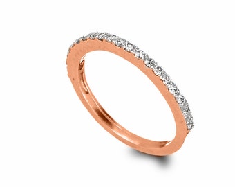 Thin Diamonds Engagement Ring , 14k Rose Gold and Diamonds Ring , Gold Tennis Ring , Stacking Engagement Ring , Red or White Diamonds Ring