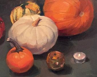 "Art painting fruit fall still life ""Ghost Pumpkin"" original oil by Sarah Sedwick 12x16"""
