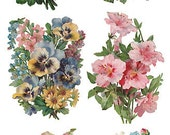 Self Adhesive Victorian Flowers 1 Sheet Colorful Scrapbooking Stickers  Number Y108