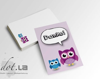 50 PCs mini thank you cards OWL
