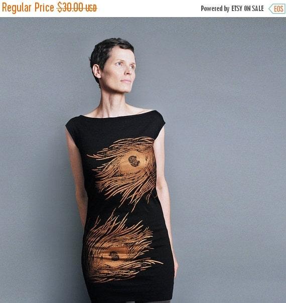 SALE Peacock Dress - Black T shirt Dress -  Metallic Copper Peacock Print - Gift For Her