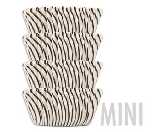 Mini Brown Candy Stripe Baking Cups - cupcake liners, cupcake papers