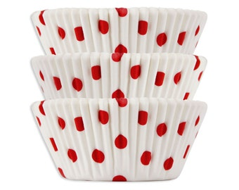 White with Red Polka Dot Baking Cups - 50 cupcake liners