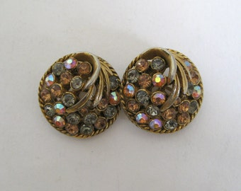 Vintage Clip On Earrings Multi Colored Rhinestones