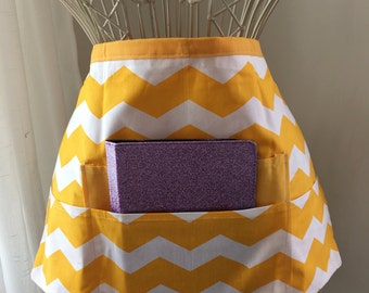 Vendor Apron Half Waist iPad Teacher Craft Yellow White Chevron Fabric (4 Pockets)