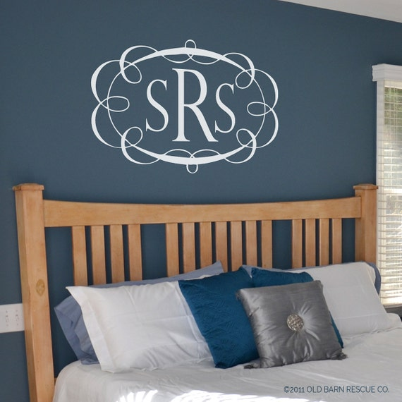 Monogram - Personalized Monogram - Custom Monogram - Three Letter Monogram with Decorative Border - Monogarm Wall Decal - Bedroom Decal