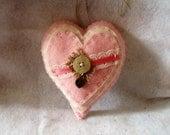 Pink Stuffed Heart Hanging Felt Heart with Heart Lock Charm
