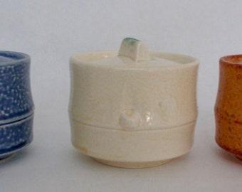 Set of 3 Asian Japanese Spice Jars Ceramic Blue Cream Terra Cotta Vintage