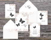Secret Garden Wedding Invitation (Butterfly, Pink Cherry Blossoms with Your Pick of Envelopes) - Park Collection Deposit