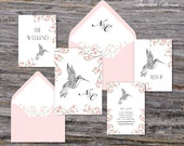 Secret Garden Wedding Invitation (Hummingbird, Pink Cherry Blossoms with Your Pick of Envelopes) - Park Collection Deposit