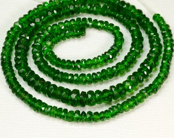 3.6mm-5.2mm Siberian Chrome Diopside Faceted Rondelle Bead 17.8 inch strand