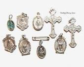 Vintage Religious Charms, Metal Pendant / Medal Lot