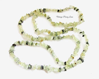Vintage Gemstone Necklace, Pale Green Beads