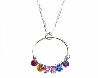 """Custom Personalized, Sterling Silver Eternity Circle Charm, Swarovski Birthstone Crystals Sterling Silver Necklace 18"""", Mother's Day Gift"""
