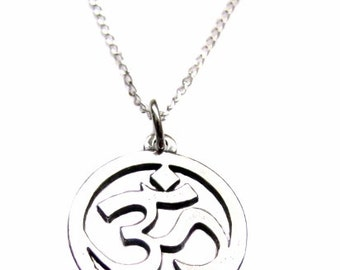 "OM Jewelry, Aum, Ohm, Sterling Silver Om Sanskrit Yoga Symbol Charm, Sterling Silver Necklace 18"" or 24"""