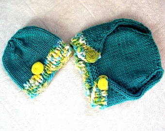 SALE Baby boy girl dog hat beanie and pants diaper cover SET pea  photography props newborn to 3 months Hand made in Canada