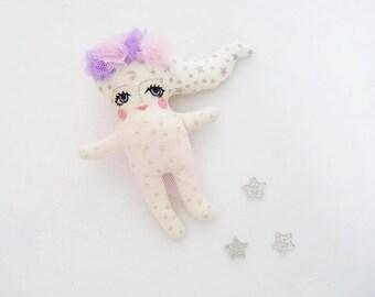 SALE - Moon Rag Doll Pastel Grunge Wall Hanging Pink Lilac