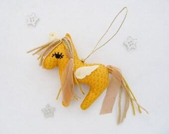 Unicorn Ornament Golden Yellow Christmas Softie