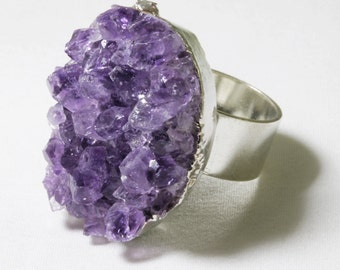 Chunky Amethyst Geode Gold Druzy Stone Raw Stone Ring February Birthstone Amethyst Ring Purple Crystal Ring Adjustable Ring AM-R-102-026s